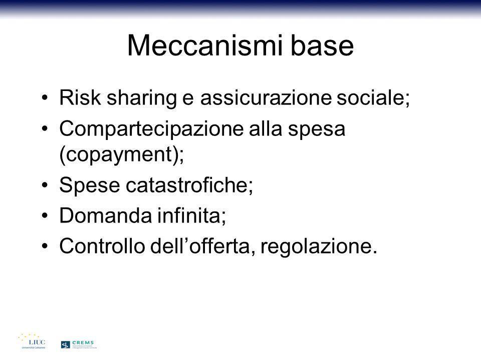Meccanismi base Risk sharing e assicurazione sociale;