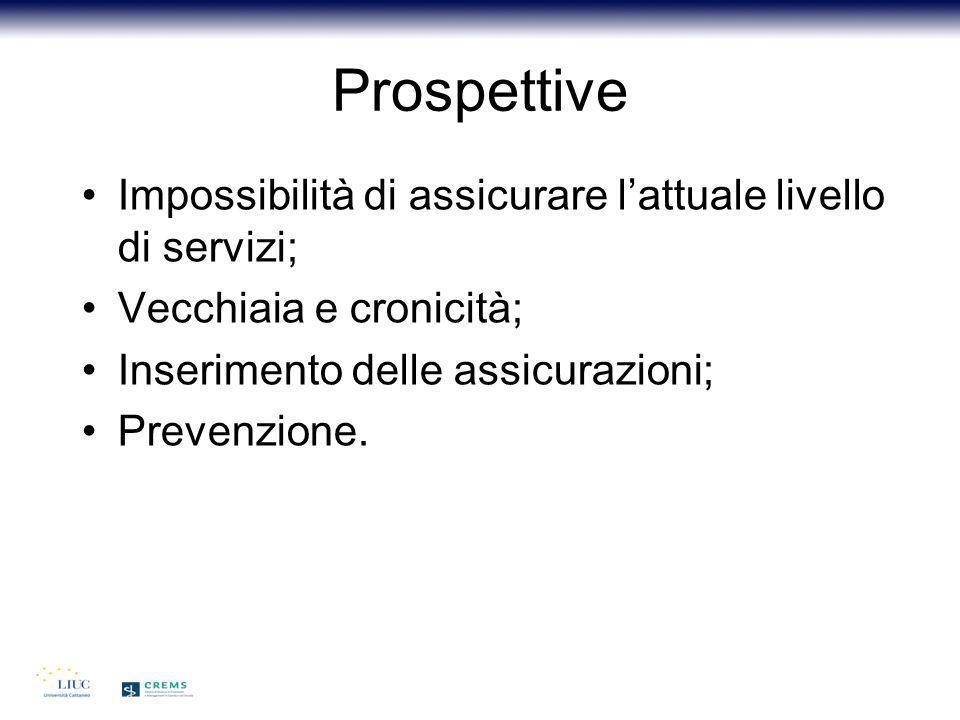 Prospettive Impossibilità di assicurare l'attuale livello di servizi;