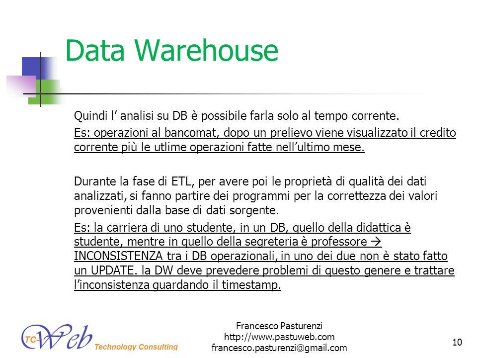 * 16/07/96. Data Warehouse. Quindi l' analisi su DB è possibile farla solo al tempo corrente.