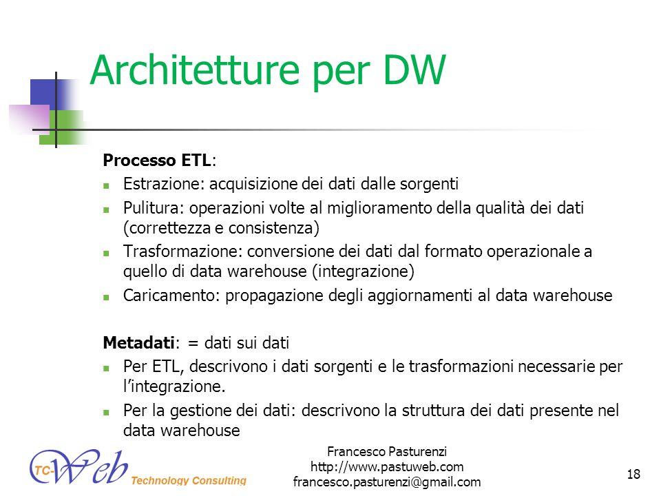 Architetture per DW Processo ETL: