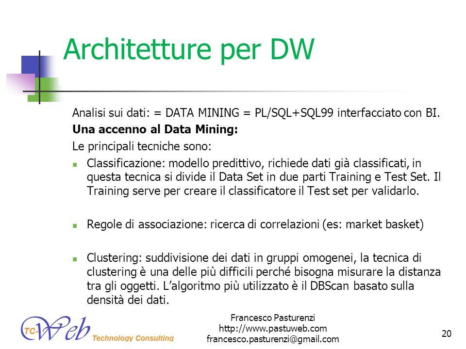 * 16/07/96. Architetture per DW. Analisi sui dati: = DATA MINING = PL/SQL+SQL99 interfacciato con BI.