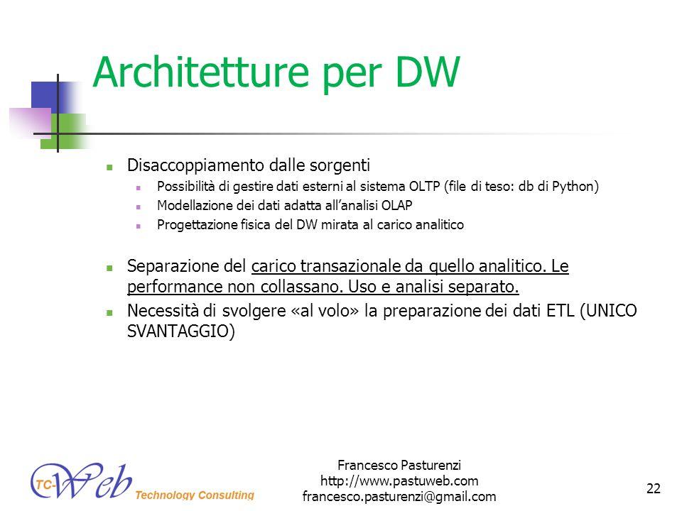Architetture per DW Disaccoppiamento dalle sorgenti