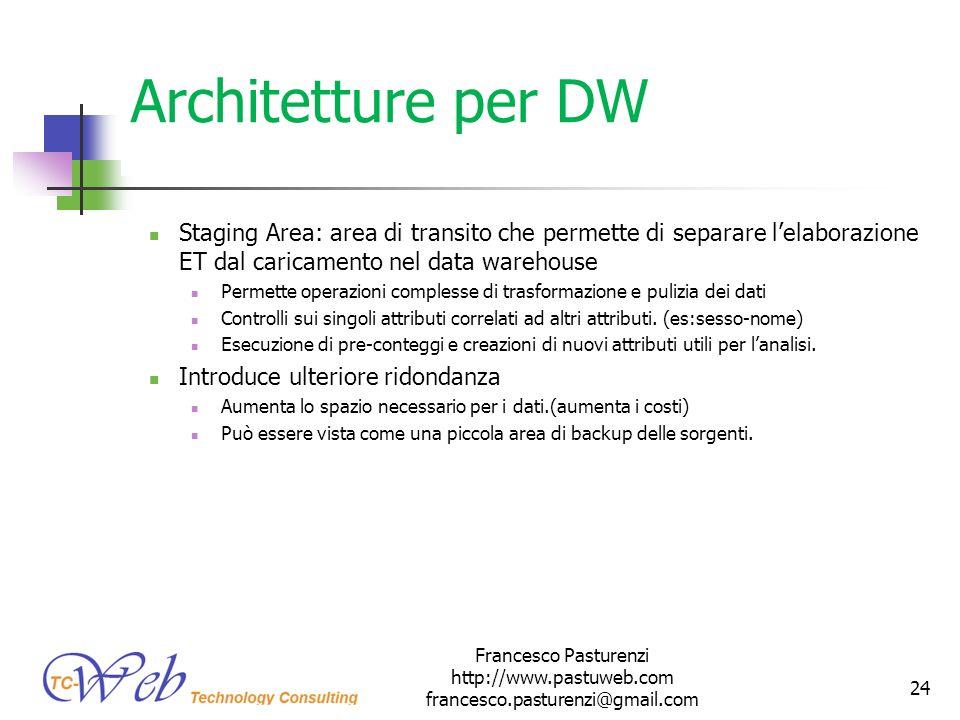 * 16/07/96. Architetture per DW. Staging Area: area di transito che permette di separare l'elaborazione ET dal caricamento nel data warehouse.