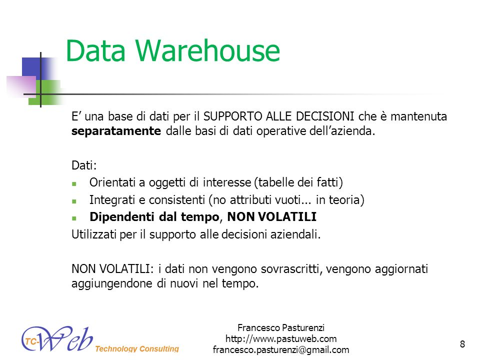 * 16/07/96. Data Warehouse.