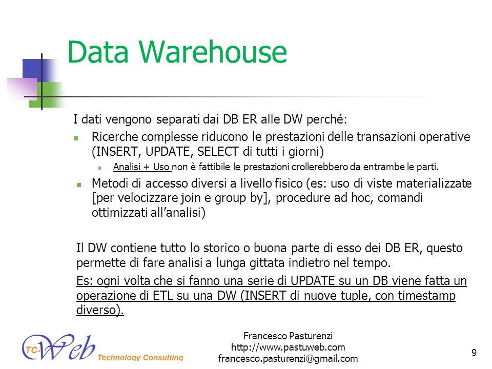 Data Warehouse I dati vengono separati dai DB ER alle DW perché: