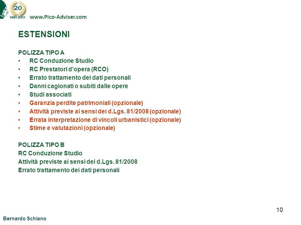 ESTENSIONI www.Pico-Adviser.com POLIZZA TIPO A RC Conduzione Studio