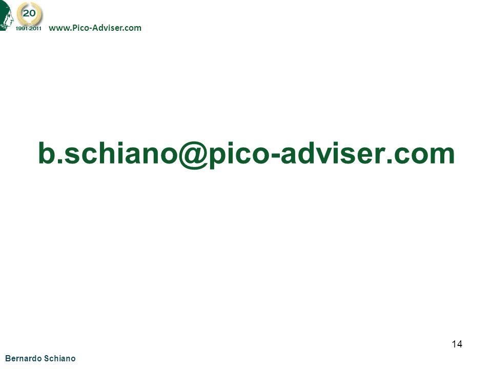 www.Pico-Adviser.com b.schiano@pico-adviser.com Bernardo Schiano