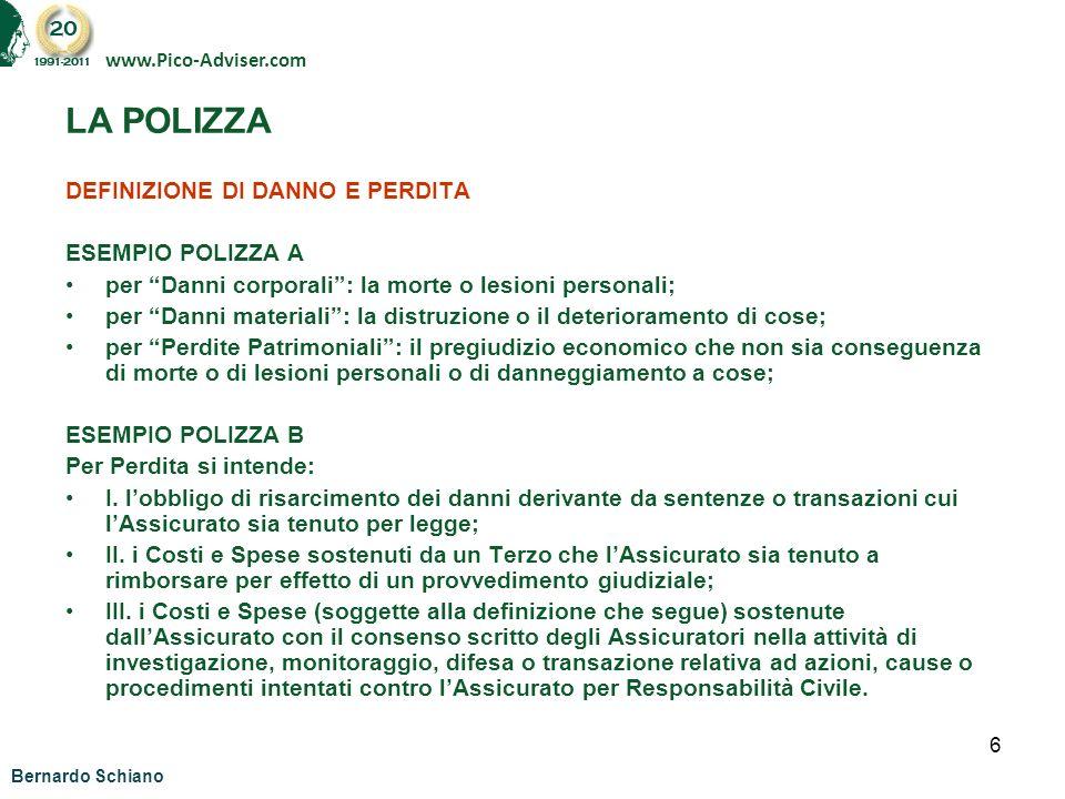 LA POLIZZA DEFINIZIONE DI DANNO E PERDITA ESEMPIO POLIZZA A