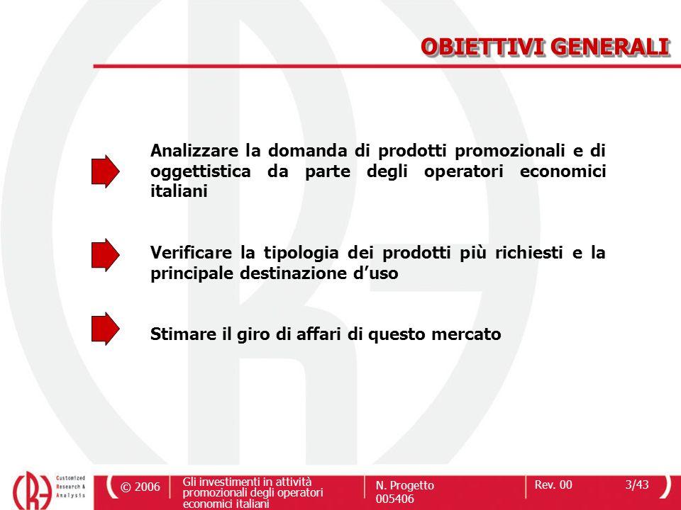OBIETTIVI GENERALI Analizzare la domanda di prodotti promozionali e di oggettistica da parte degli operatori economici italiani.