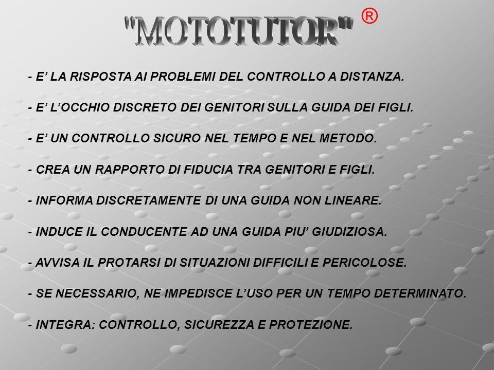 MOTOTUTOR ® - E' LA RISPOSTA AI PROBLEMI DEL CONTROLLO A DISTANZA.