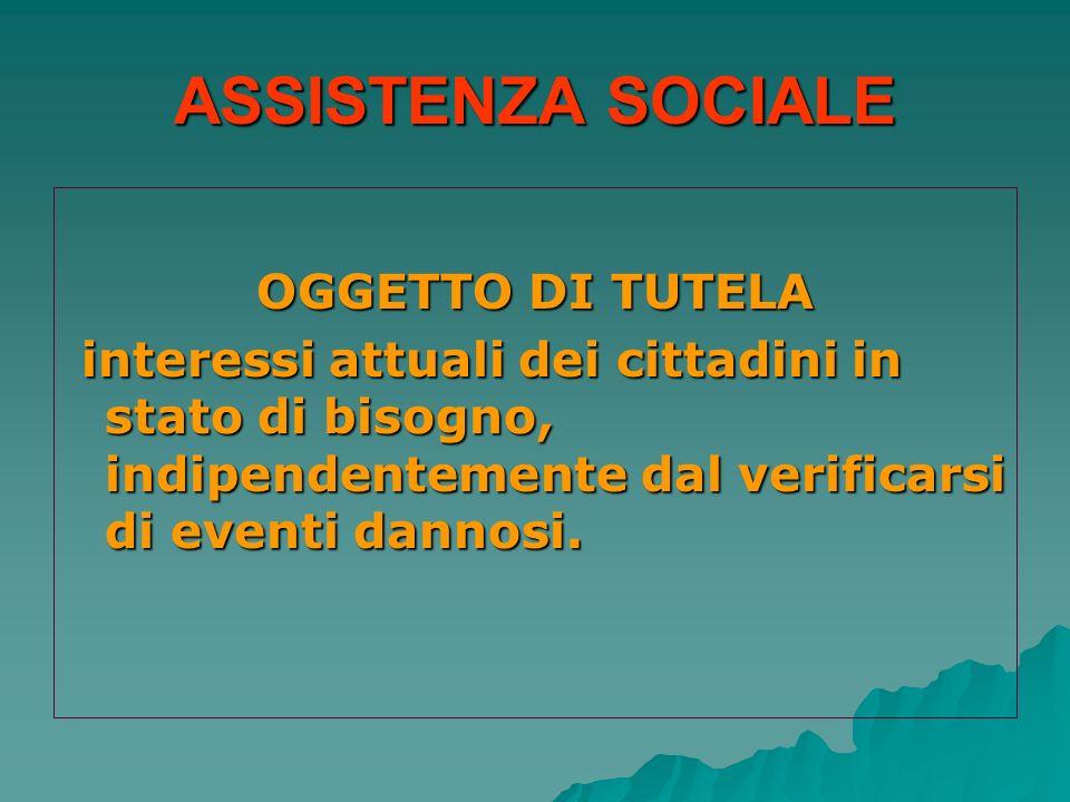 ASSISTENZA SOCIALE OGGETTO DI TUTELA