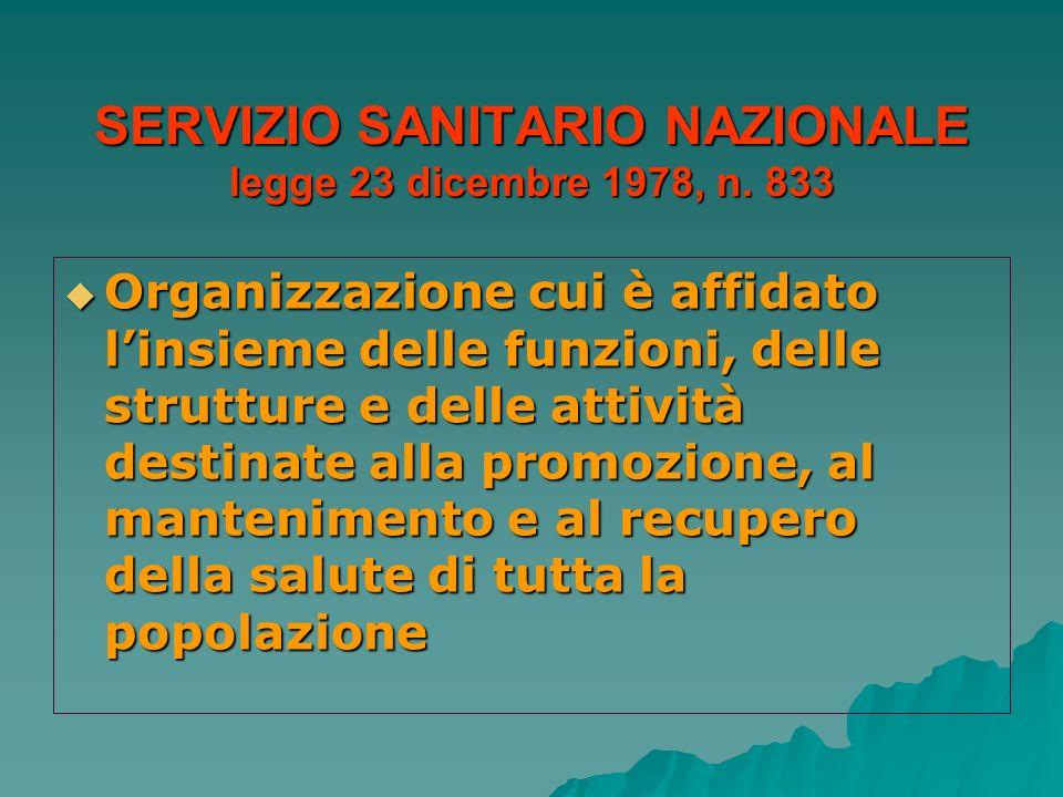 SERVIZIO SANITARIO NAZIONALE legge 23 dicembre 1978, n. 833