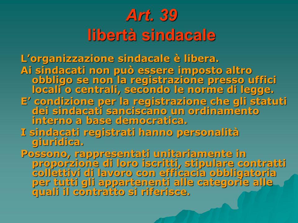 Art. 39 libertà sindacale L'organizzazione sindacale è libera.