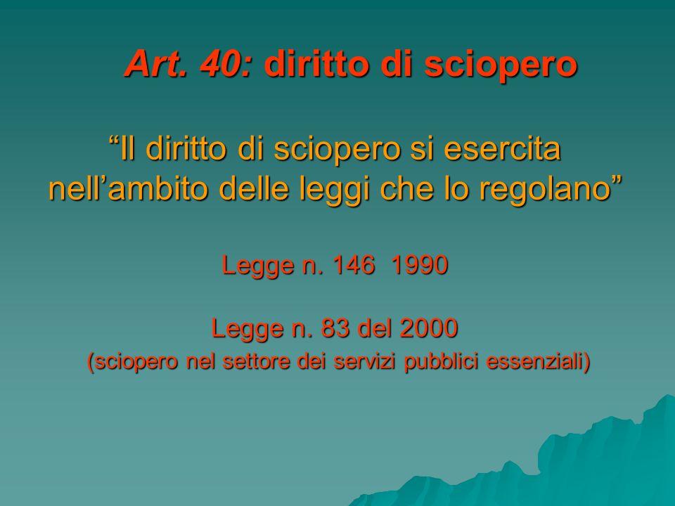 Art. 40: diritto di sciopero