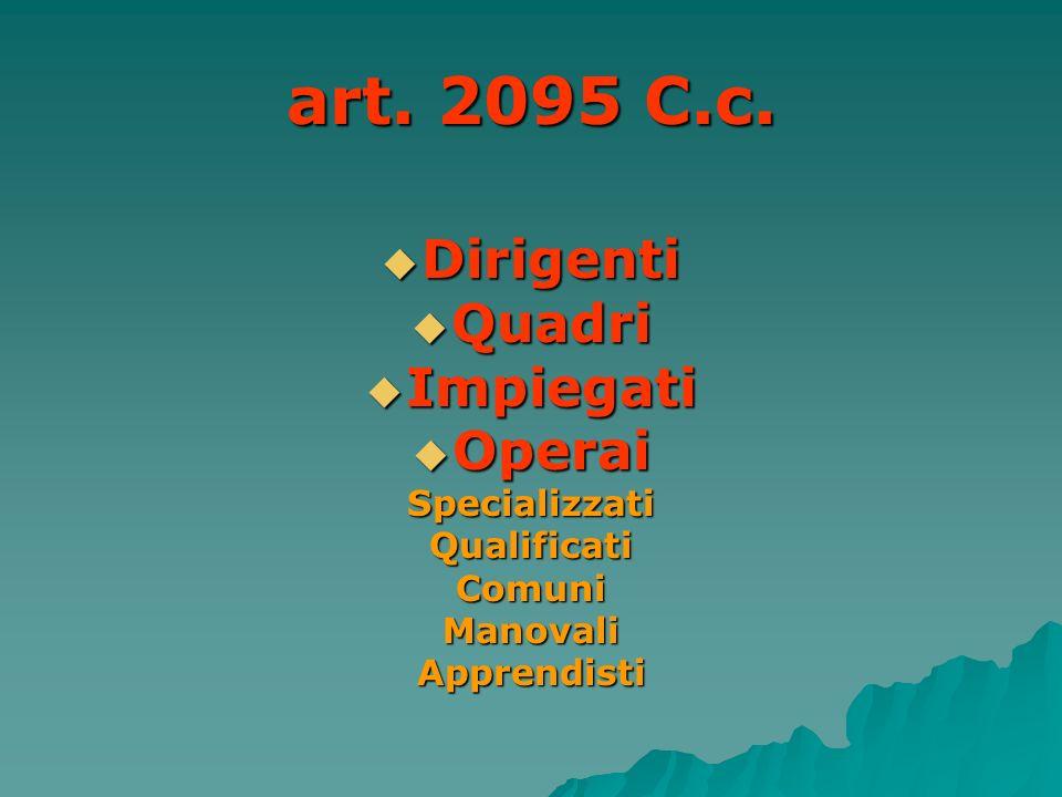 art. 2095 C.c. Dirigenti Quadri Impiegati Operai Specializzati