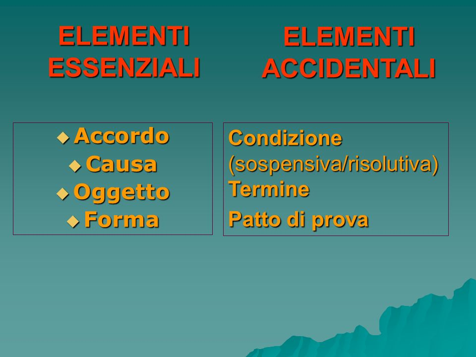 ELEMENTI ACCIDENTALI ELEMENTI ESSENZIALI