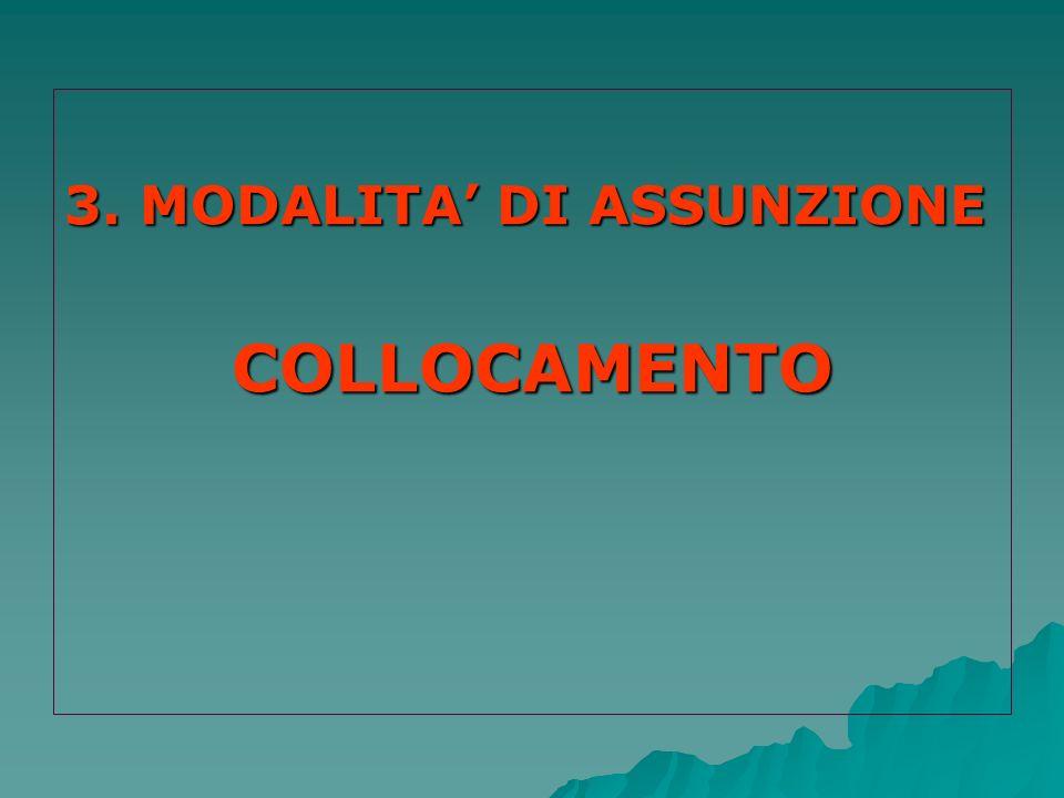 3. MODALITA' DI ASSUNZIONE