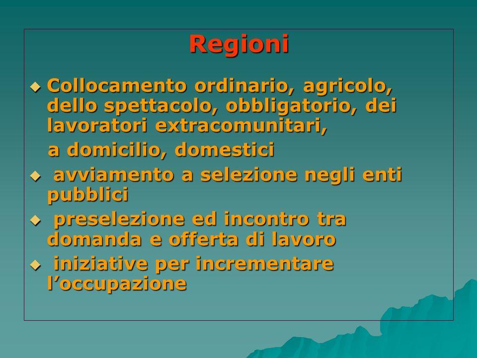 Regioni Collocamento ordinario, agricolo, dello spettacolo, obbligatorio, dei lavoratori extracomunitari,