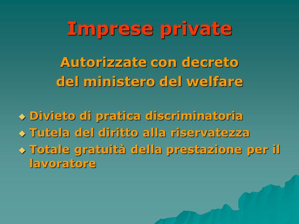 Autorizzate con decreto del ministero del welfare