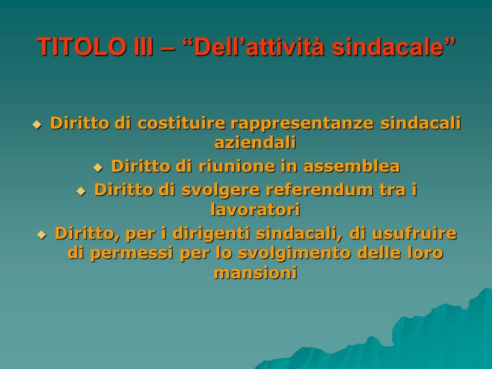 TITOLO III – Dell'attività sindacale