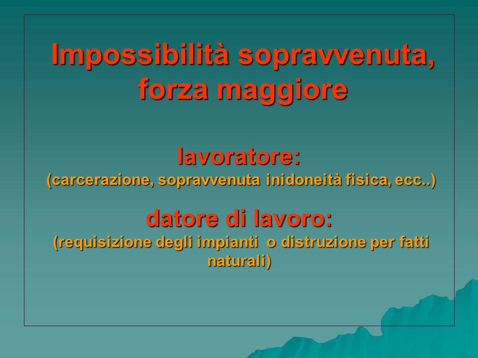 Impossibilità sopravvenuta, forza maggiore lavoratore: (carcerazione, sopravvenuta inidoneità fisica, ecc..) datore di lavoro: (requisizione degli impianti o distruzione per fatti naturali)