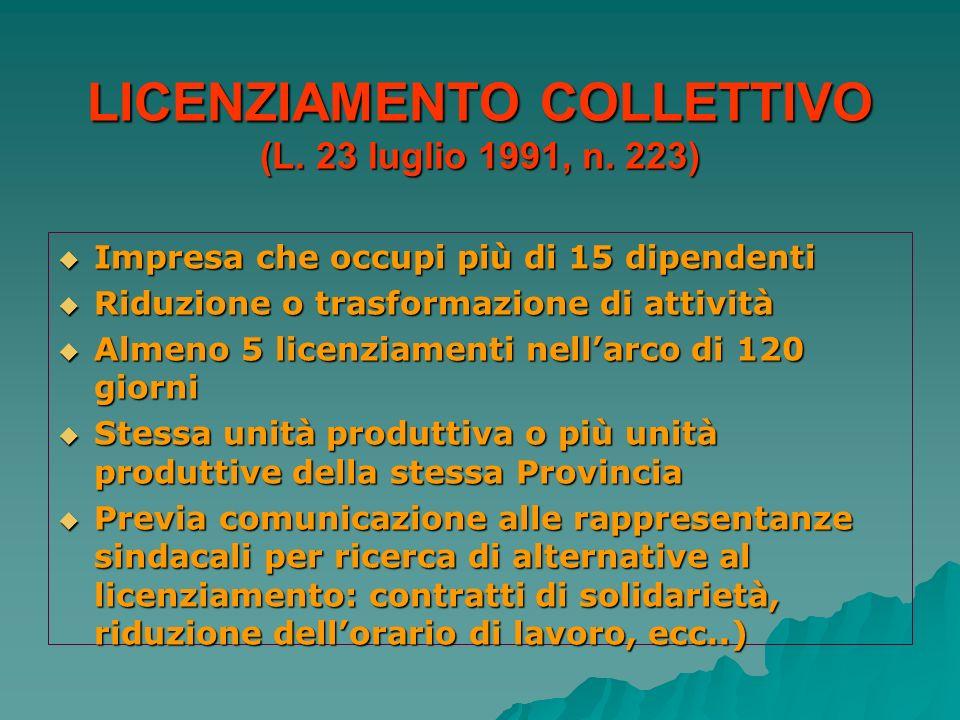 LICENZIAMENTO COLLETTIVO (L. 23 luglio 1991, n. 223)