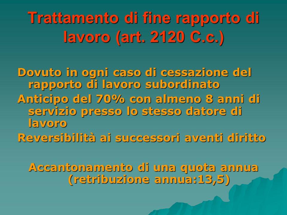Trattamento di fine rapporto di lavoro (art. 2120 C.c.)