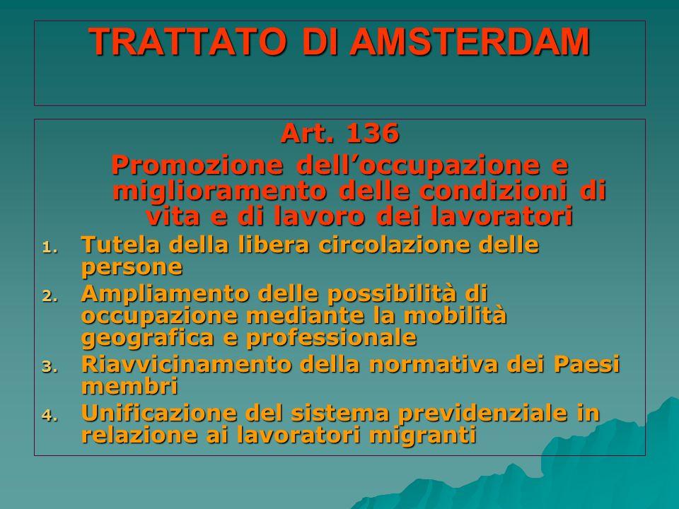 TRATTATO DI AMSTERDAM Art. 136