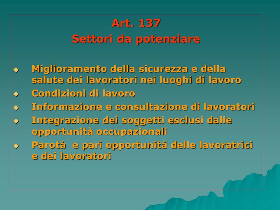 Art. 137 Settori da potenziare