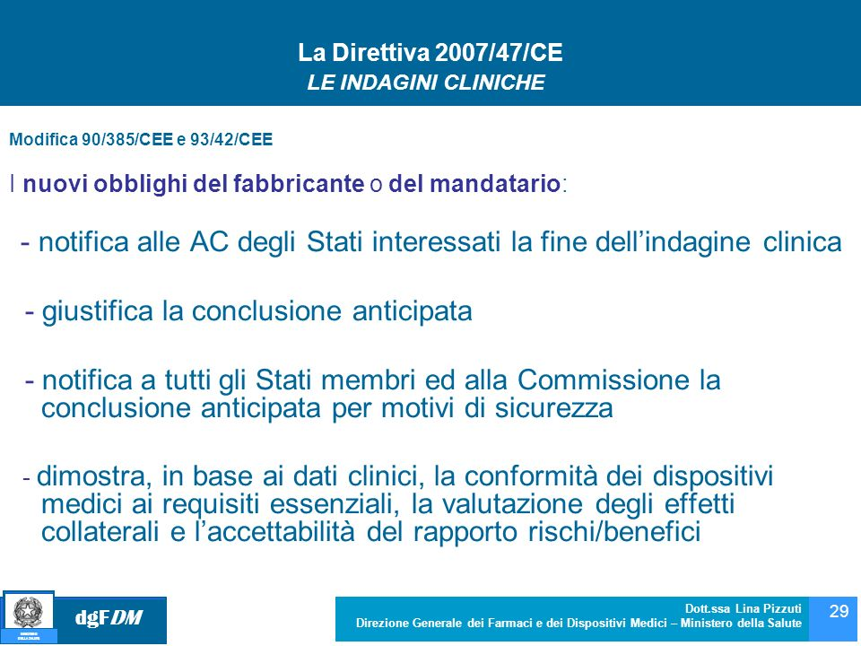 - giustifica la conclusione anticipata