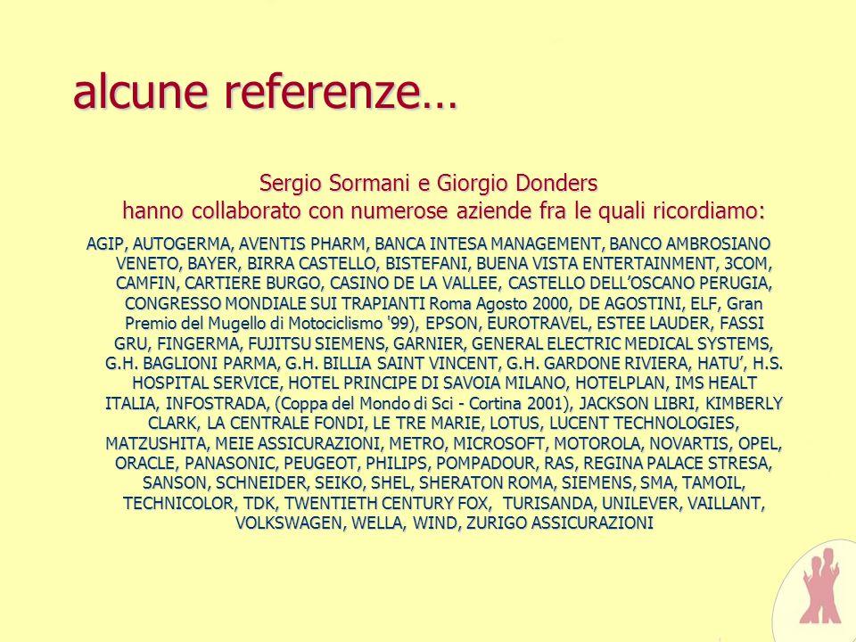 alcune referenze…Sergio Sormani e Giorgio Donders hanno collaborato con numerose aziende fra le quali ricordiamo: