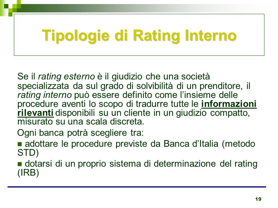 Tipologie di Rating Interno