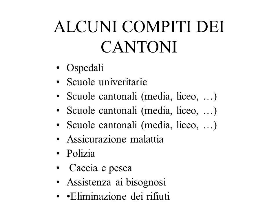 ALCUNI COMPITI DEI CANTONI