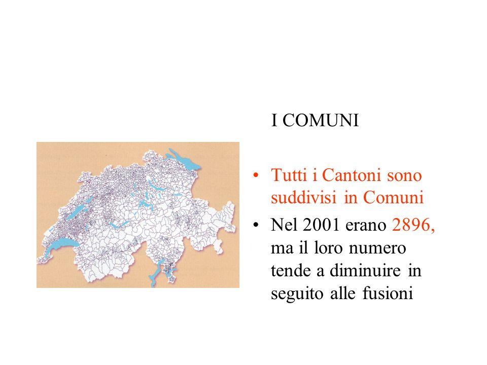 I COMUNI Tutti i Cantoni sono suddivisi in Comuni.