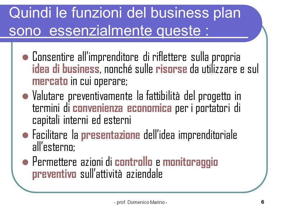 Quindi le funzioni del business plan sono essenzialmente queste :