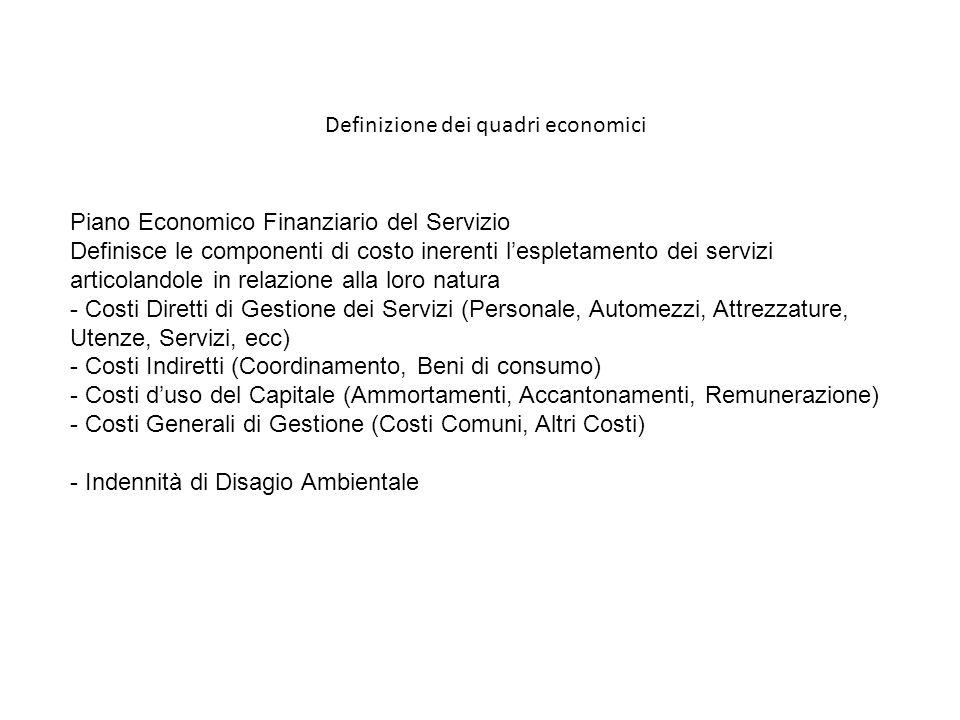 Definizione dei quadri economici