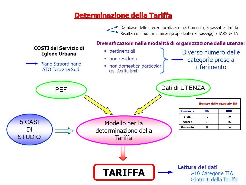 Determinazione della Tariffa COSTI del Servizio di Igiene Urbana