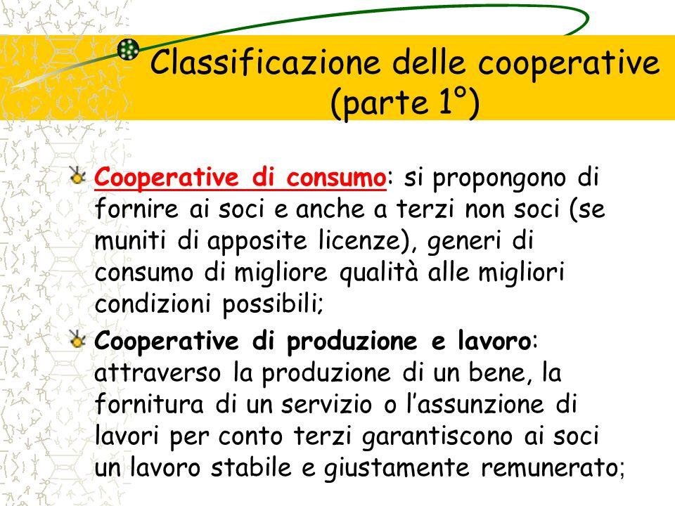 Classificazione delle cooperative (parte 1°)