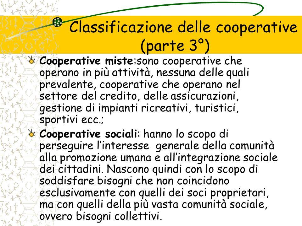 Classificazione delle cooperative (parte 3°)