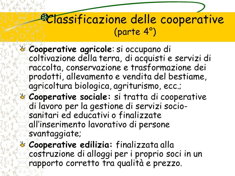 Classificazione delle cooperative (parte 4°)