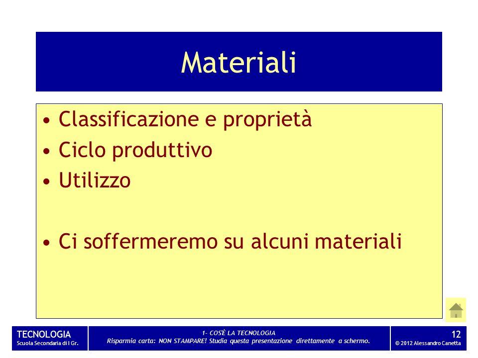 Materiali Classificazione e proprietà Ciclo produttivo Utilizzo