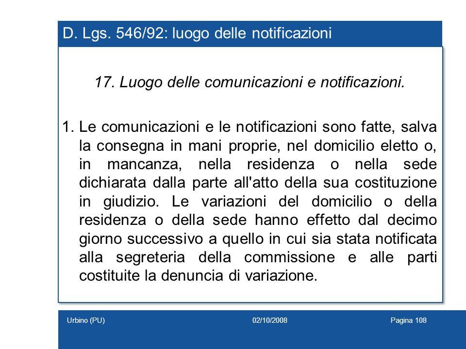 D. Lgs. 546/92: luogo delle notificazioni