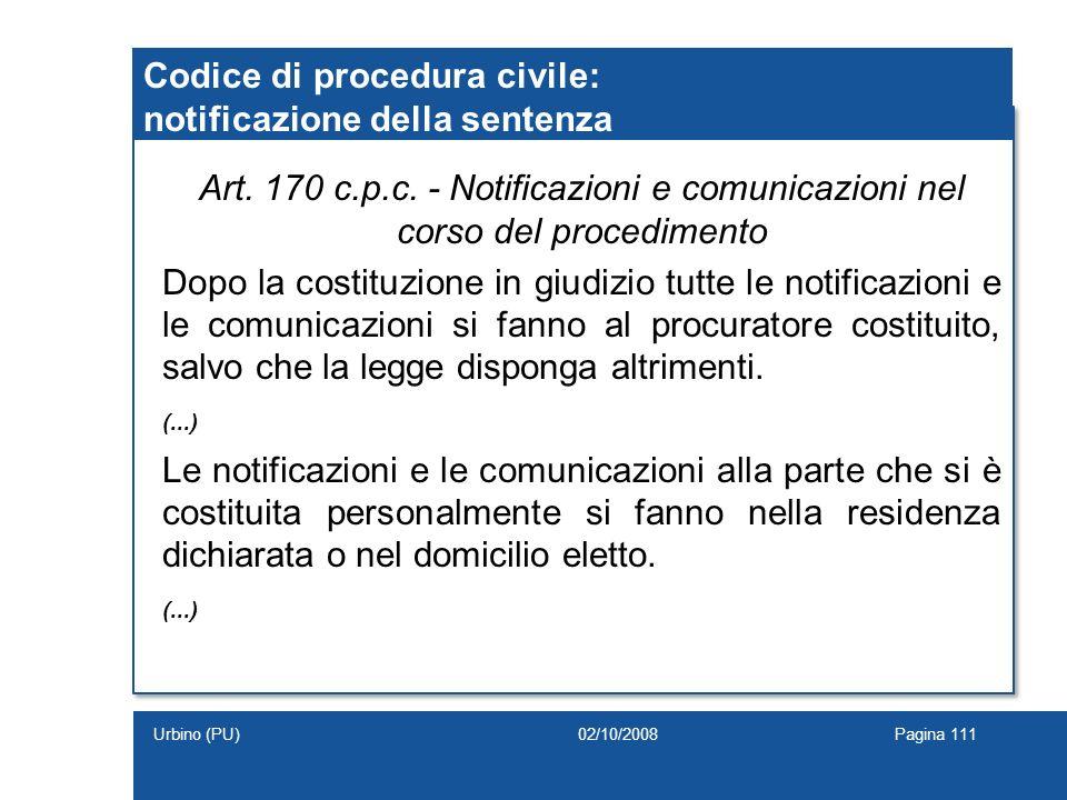 Codice di procedura civile: notificazione della sentenza