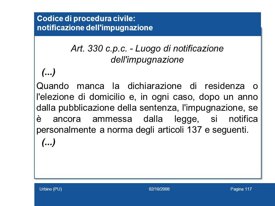 Codice di procedura civile: notificazione dell impugnazione