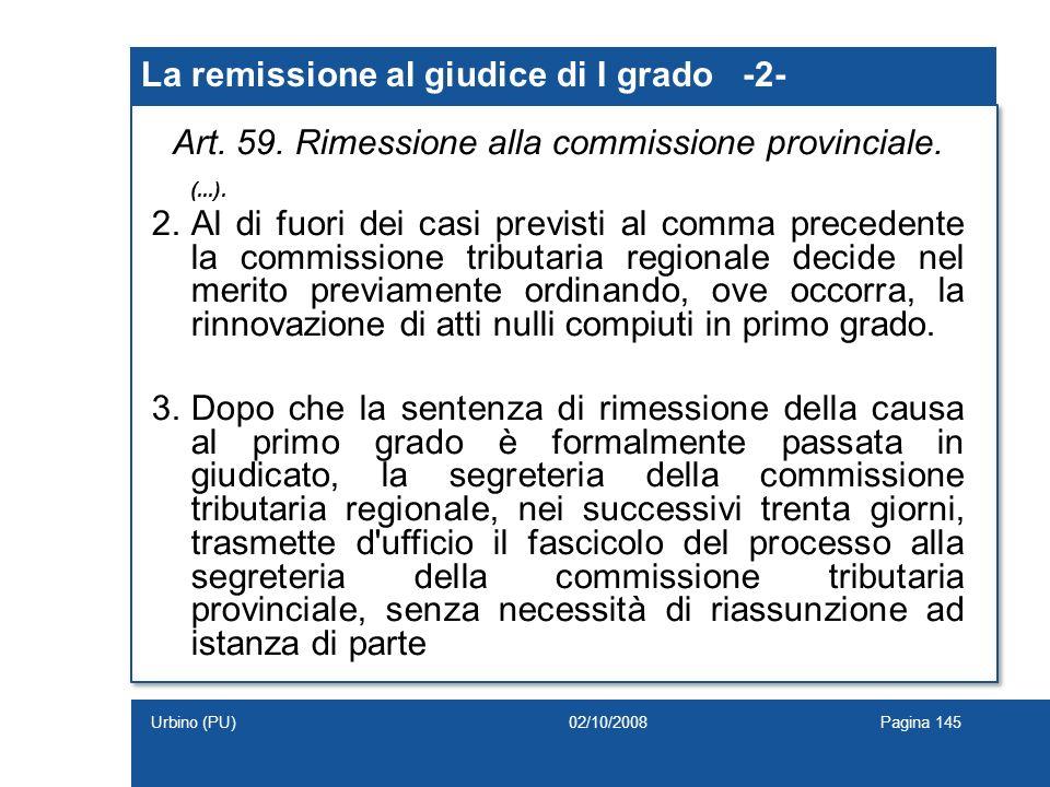 La remissione al giudice di I grado -2-