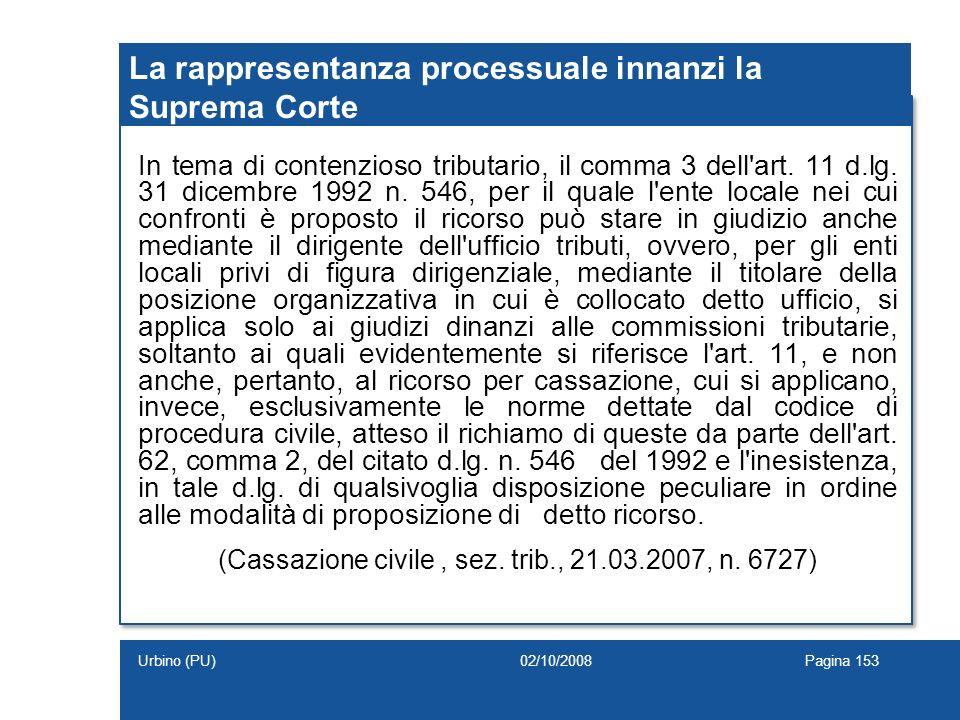 La rappresentanza processuale innanzi la Suprema Corte