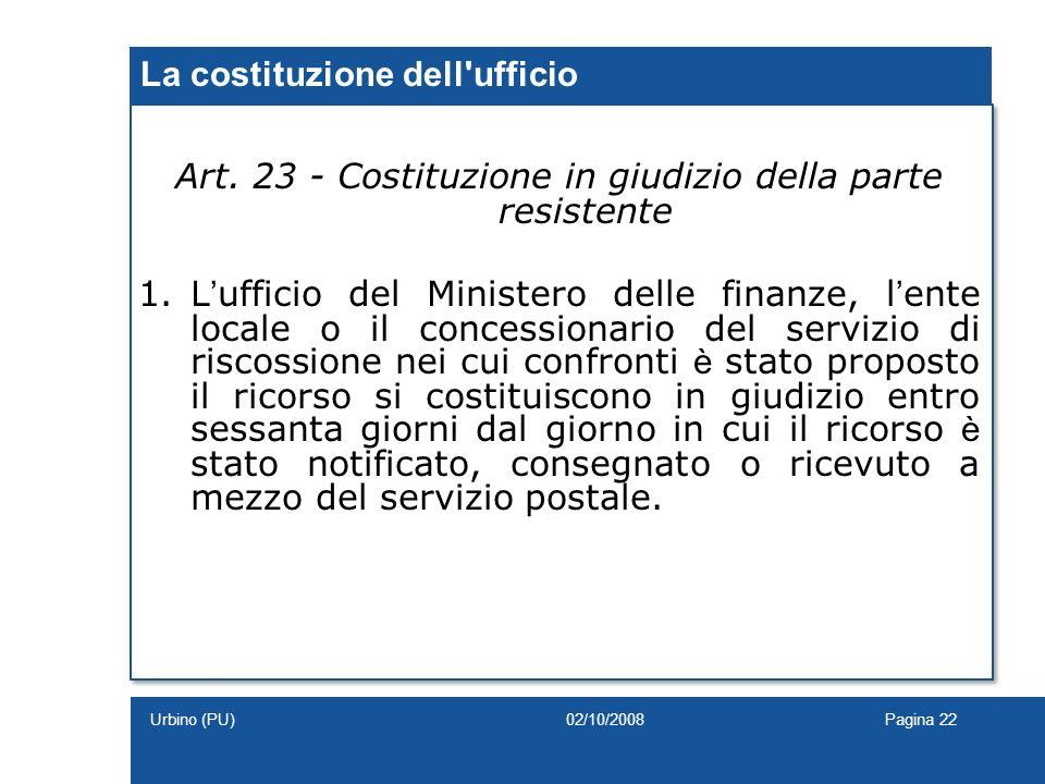 La costituzione dell ufficio
