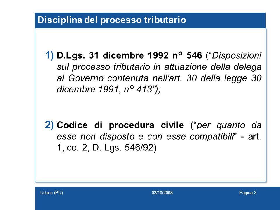 Disciplina del processo tributario