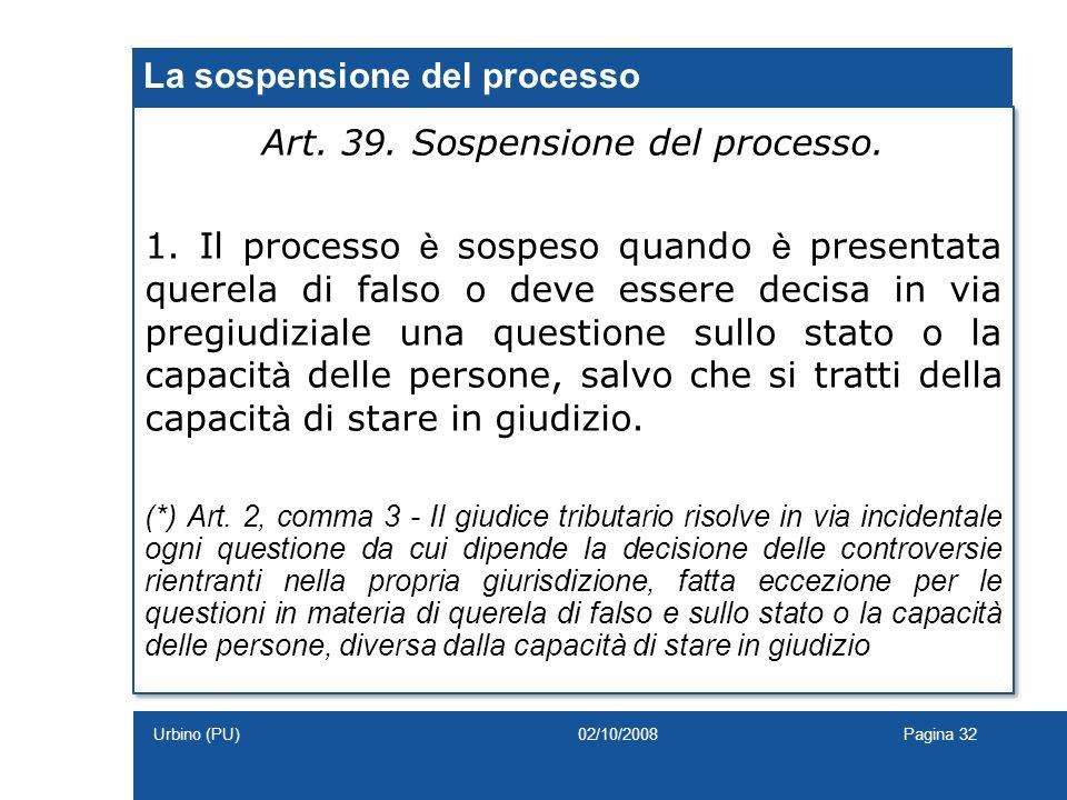 La sospensione del processo