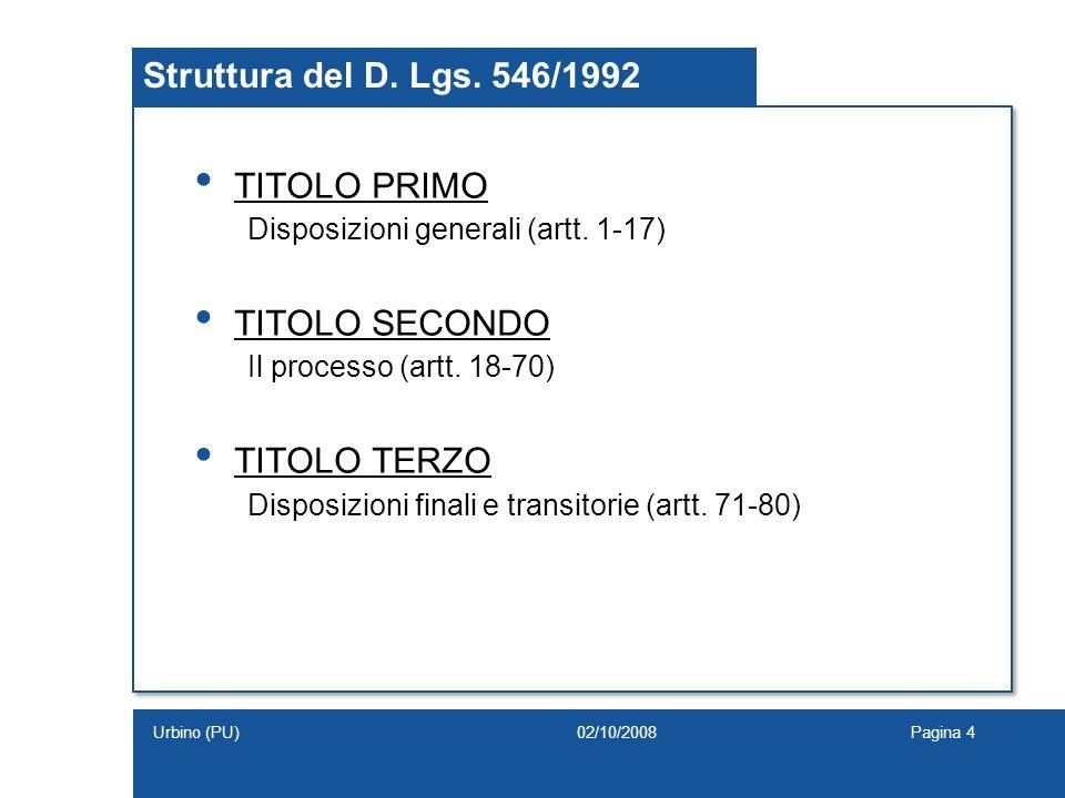 Struttura del D. Lgs. 546/1992 TITOLO PRIMO TITOLO SECONDO
